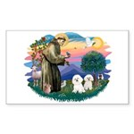 St Francis #2/ Bichon (2) Sticker (Rectangle)