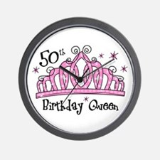 Tiara 50th Birthday Queen Wall Clock