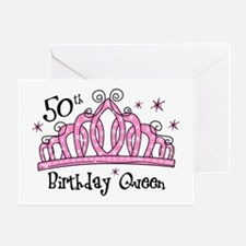Tiara 50th Birthday Queen Greeting Card