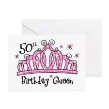 Tiara 50th Birthday Queen Greeting Cards (Pk of 10