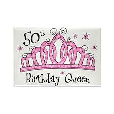 Tiara 50th Birthday Queen Rectangle Magnet