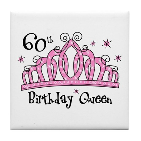Tiara 60th Birthday Queen Tile Coaster