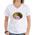 Trumpeter Pigeons and Rose Women's V-Neck T-Shirt