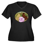 Trumpeter Pigeons and Rose Women's Plus Size V-Nec