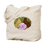 Trumpeter Pigeons and Rose Tote Bag