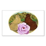 Trumpeter Pigeons and Rose Sticker (Rectangle 50 p