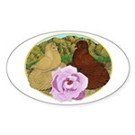 Trumpeter Pigeons and Rose Sticker (Oval)