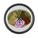 Trumpeter Pigeons and Rose Large Wall Clock