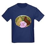 Trumpeter Pigeons and Rose Kids Dark T-Shirt