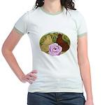 Trumpeter Pigeons and Rose Jr. Ringer T-Shirt