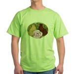 Trumpeter Pigeons and Rose Green T-Shirt