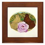 Trumpeter Pigeons and Rose Framed Tile