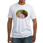 Trumpeter Pigeons and Rose Fitted T-Shirt