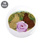 """Trumpeter Pigeons and Rose 3.5"""" Button (10 pa"""