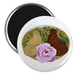 """Trumpeter Pigeons and Rose 2.25"""" Magnet (10 p"""