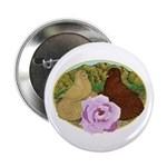 """Trumpeter Pigeons and Rose 2.25"""" Button"""