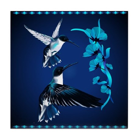 Two Blue Hummingbirds Tile Coaster