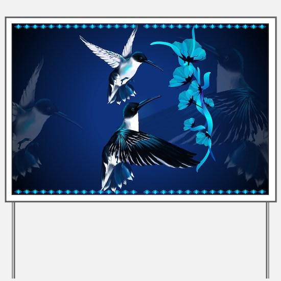 Two Blue Hummingbirds Yard Sign