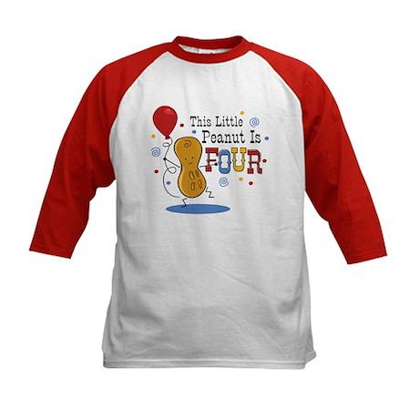 Little Peanut 4th Birthday Kids Baseball Jersey