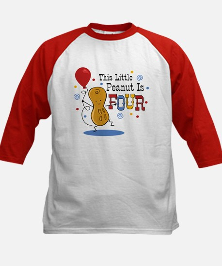 Little Peanut 4th Birthday Kids Baseball Jersey