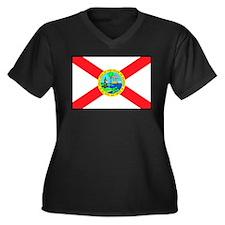 Florida Flag 4 Women's Plus Size V-Neck Dark T-Shi