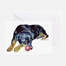 Rottweiller with Ball Greeting Card
