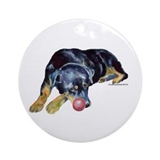 Rottweiller with Ball Ornament (Round)