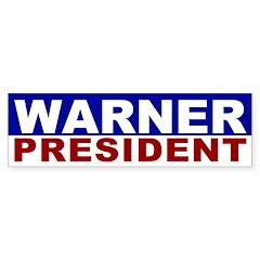 Mark Warner for President bumper sticker
