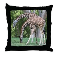 Mom and Kid Giraffe Throw Pillow