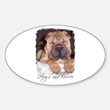 HUGS AND KISSES Oval Decal