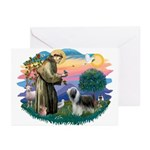 St Francis #2/ Beardie (sw) Greeting Cards (Pk of