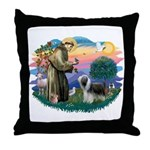 St Francis #2/ Beardie (sw) Throw Pillow