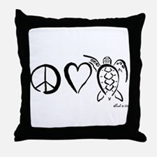 Peace, Love & Turtles Throw Pillow