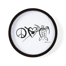 Peace, Love & Turtles Wall Clock