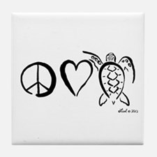 Peace, Love & Turtles Tile Coaster