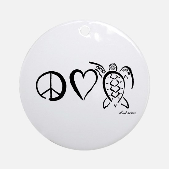 Peace, Love & Turtles Ornament (Round)