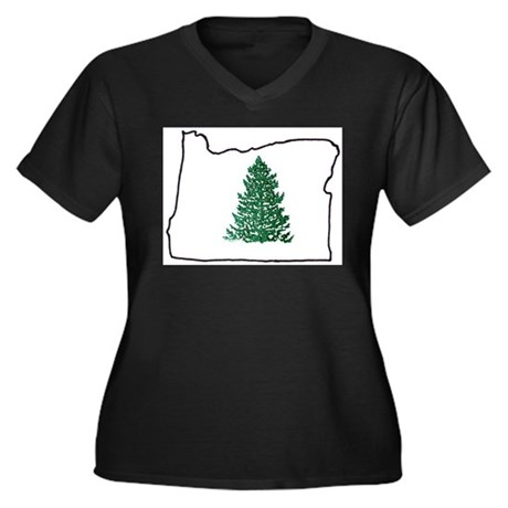 Tree in Oregon Women's Plus Size V-Neck Dark T-Shi