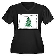Tree in Oregon Women's Plus Size V-Neck Dark T-Shi