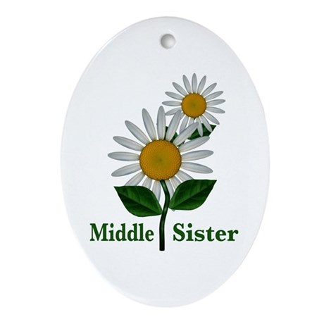 Daisies Middle Sister Ornament (Oval)