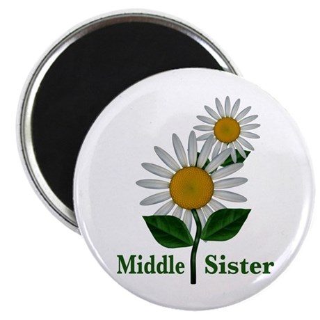 """Daisies Middle Sister 2.25"""" Magnet (10 pack)"""