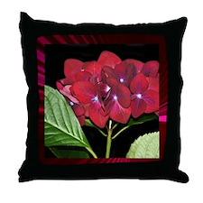 Red Hydrangea Pretty Pillows Throw Pillow