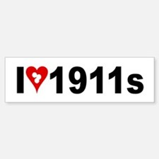 I (heart w/target holes) 1911s Bumper Bumper Sticker
