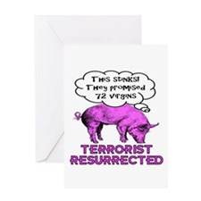 Terrorist Pig Greeting Card