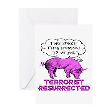 Terrorist Pig Greeting Card