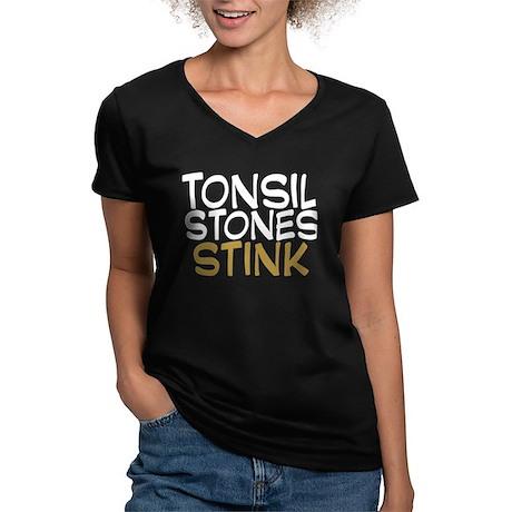 Tonsil Stones Stink Women's V-Neck Dark T-Shirt