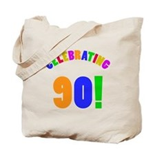 Rainbow 90th Birthday Party Tote Bag