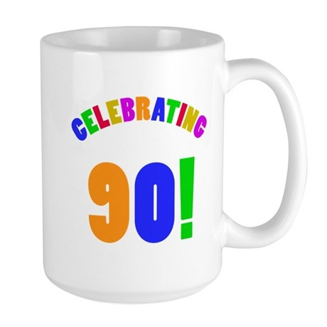 Rainbow 90th Birthday Party Large Mug
