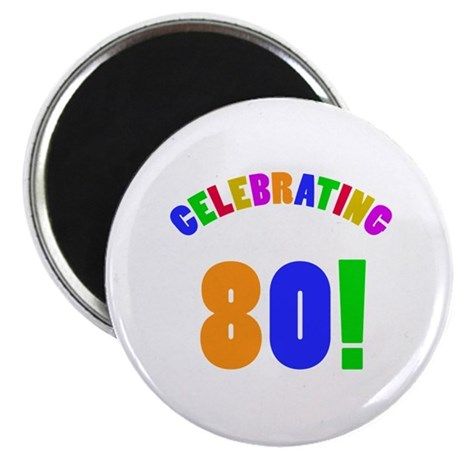 Rainbow 80th Birthday Party Magnet