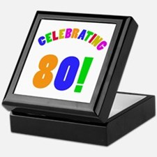 Rainbow 80th Birthday Party Keepsake Box