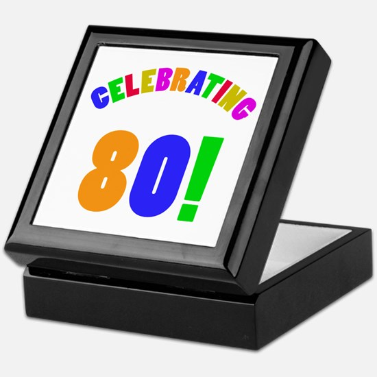 Rainbow 80th Birthday Party Keepsake Box